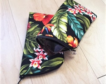 Sunglass Case, Eyeglass Case, Zippered Case in Hawaiian Florals