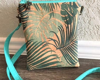 Cork Purse, Small Cross Body, Small Zip Top Hipster in Tropical Leaf Print Cork Fabric
