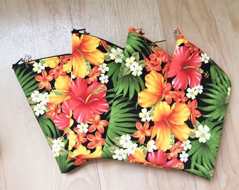 Sunglass Case, Eyeglass Case, Zippered Case in Hibiscus Garden