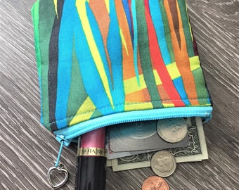 Coin Purse, Zippered Pouch,  Business Card Holder, Credit Card Holder, Coin Pouch in Vibrant Blades