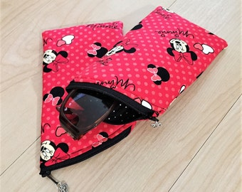 Sunglass Case, Eyeglass Case, Zippered Case in Minnie