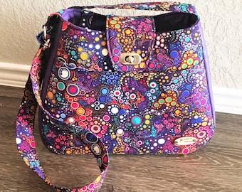 Handbag, Shoulder Bag, Purse, Tote Bag, Summer Bag in Purple Bubbles with Matching Key Fob with Adjustable Shoulder Strap