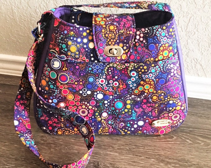Featured listing image: Handbag, Shoulder Bag, Purse, Tote Bag, Summer Bag in Purple Bubbles with Matching Key Fob with Adjustable Shoulder Strap
