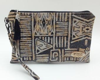 Clutch,  Cork Clutch, Cork Handbag, Wristlet, Clutch Purse, Evening Bag, Zippered Bag in Aztec Cork Leather - Made in Maui