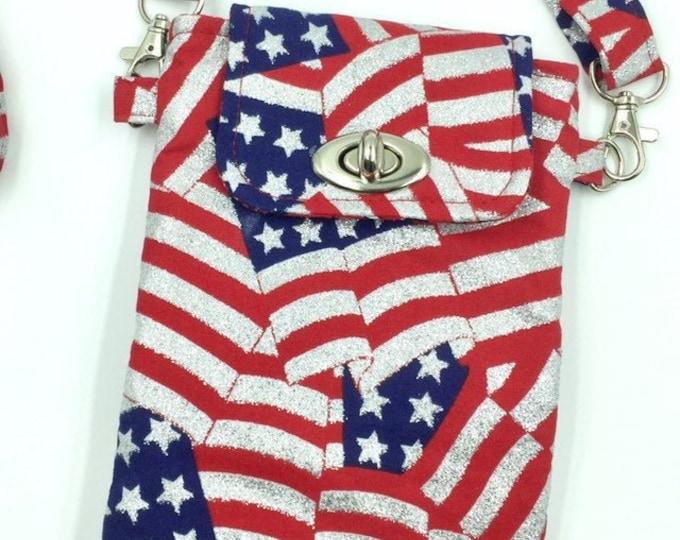 Cell Phone Bag, Crossbody Bag, Travel Bag, Cell Phone Wallet, Waist Bag, Flag Bag in U.S. Glitter Flags