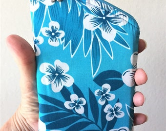 Sunglass Case, Eyeglass Case, Zippered Case in Blue and White Tropical Floral