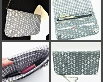 Wallet, Purse, Makena Wallet Purse, Clutch, Evening Bag, Zippered Clutch in Anchors Away