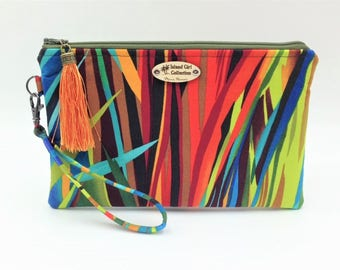 Clutch, Wristlet, Clutch Purse, Evening Bag, Small Purse, Tropical Clutch, Zippered Bag in Vibrant Blades - Made in Maui