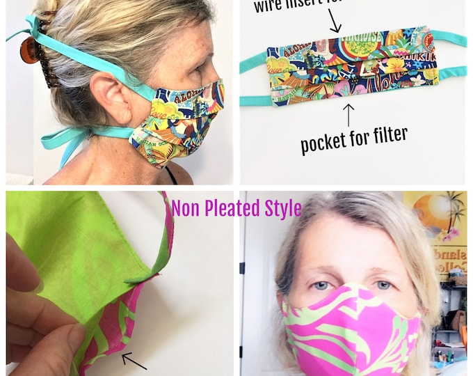 Custom Order Face Mask with Elastic or Cloth Ties, Reusable Mask, Face Covering, Hawaii Mask with filter pocket & nose wire - Made to Order
