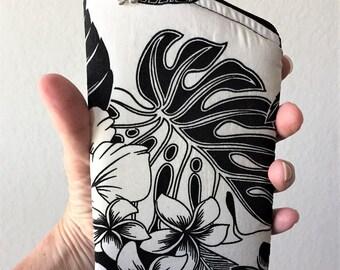 Sunglass Case, Eyeglass Case, Zippered Case in Black & White Tropicals