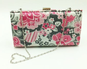 Clutch, Bridesmaid Clutch, Clamshell Clutch, Evening Clutch, Cocktail Clutch, Floral Clutch