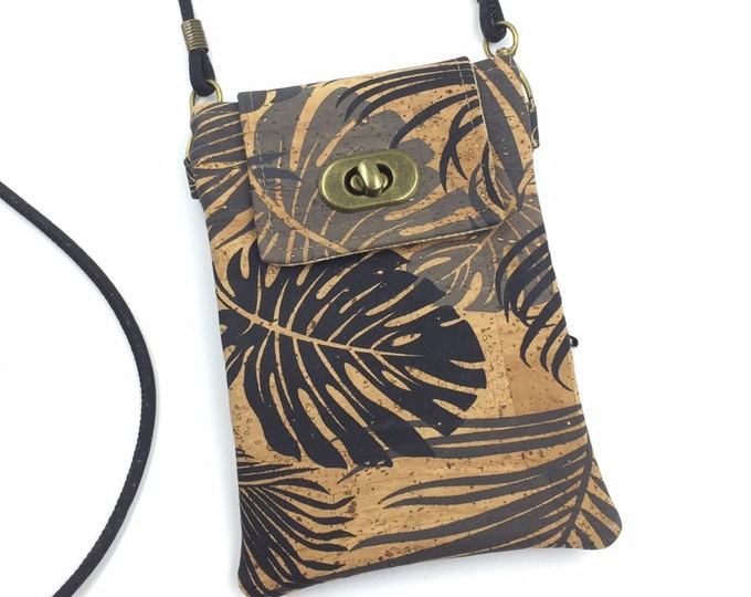 Cork Cell Phone Bag, Crossbody Bag, Hawaii Bag, Travel Bag, Cell Phone Wallet in Tropical Leaf Print Cork Fabric