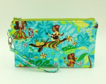 Clutch, Wristlet, Clutch Purse, Evening Bag, Bridesmaid Clutch, Zippered Bag in Hula Girl with Ukulele