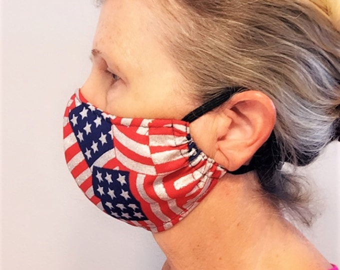 Face Mask, American Flag Mask, Couples Mask, Reusable Mask, Travel Mask, Face Covering, Patriotic Mask with filter pocket & nose wire