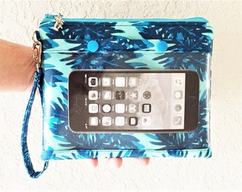 Smartphone Wristlet, Cell Phone Clutch, Touch Screen Wristlet, Zipper Clutch, Tropical Wristlet in Tropical Print