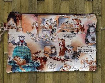 Clutch, Wristlet, Clutch Purse, Evening Bag, Zippered Bag with Dog & Cat Comics
