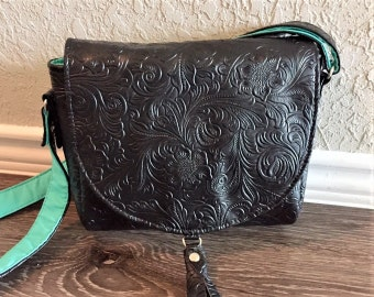 Crossbody Bag,  Saddlebag  Crossbody, Travel Bag, Shoulder Bag in Embossed Black Vinyl