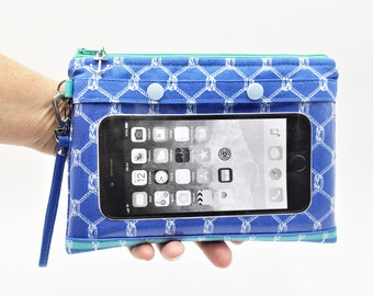 Smartphone Wristlet, Cell Phone Clutch, Touch Screen Wristlet, Zipper Clutch, Wristlet in Nautical Print