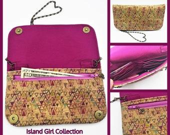 Cork Wallet, Cork Purse, Makena Wallet Purse, Clutch, Evening Bag, Zippered Clutch in Triangle Print Cork Fabric