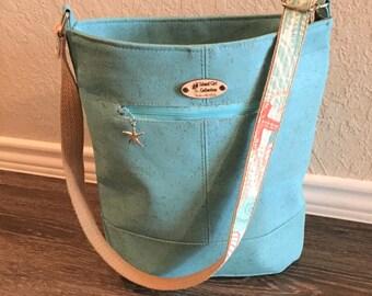 Cork Handbag, Large Handbag, Shoulder Bag, Bucket Bag, Tropical Bag, Purse in Ocean Blue Cork Leather