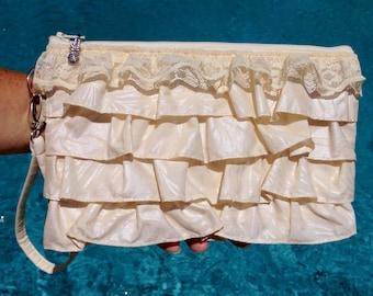 Clutch, Wedding Clutch, Bridal Wristlet, Tropical Bag, Hawaiian Purse in Ruffles & Lace Tropical Leaf Print