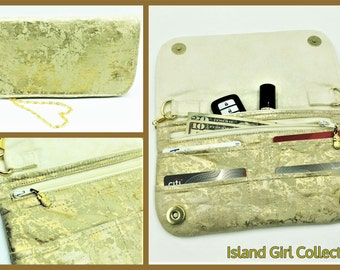 Wallet, Purse, Makena Wallet Purse, Clutch, Evening Bag, Zippered Clutch in Cream and Gold Metallic Crackle