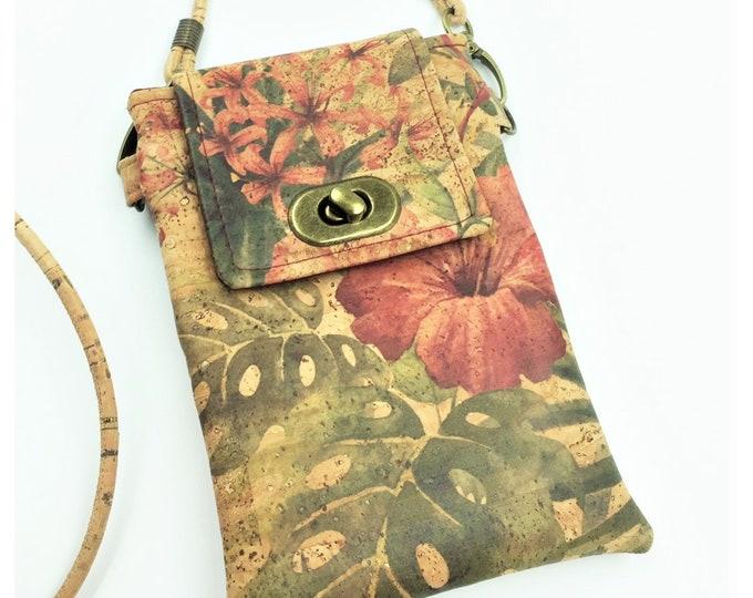 Cork Cell Phone Bag, Crossbody Bag, Hawaii Bag, Travel Bag, Cell Phone Wallet in Vintage Hibiscus Cork