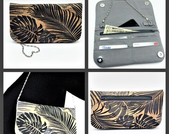 Cork Wallet, Cork Purse, Makena Wallet Purse, Clutch, Evening Bag, Zippered Clutch in Tropical Leaf Print Cork Fabric