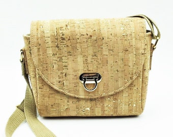 Cork Crossbody, Crossbody Bag, Saddlebag Crossbody, Handbag, Travel Bag, Shoulder Bag in Natural Gold Fleck Cork Leather