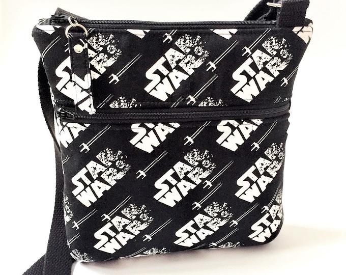 Double Zipper Cross Body Bag, Star Wars Cross Body Bag, Travel Bag, Shoulder Bag in Star Wars/Stormtrooper Fabric