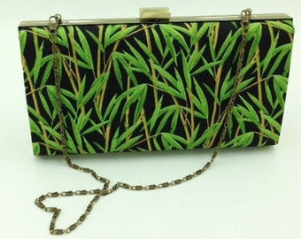 Clutch, Bridesmaid Clutch, Clamshell Clutch, Evening Clutch, Cocktail Clutch, Tropical Clutch in Bamboo Print