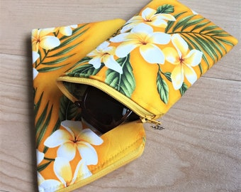 Sunglass Case, Eyeglass Case, Zippered Case in Yellow Plumeria