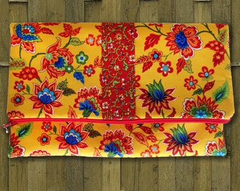 Fold Over Clutch, Clutch Purse, Evening Clutch in Yellow / Red Flowers Fabric