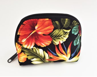 Cosmetic Bag, Tropical Pouch, Travel Bag, Zippered Bag, Notions Bag, Dumpling Bag - Small