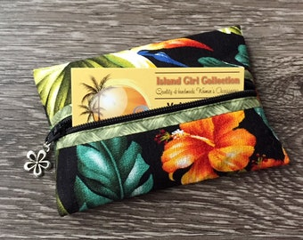 Zippered Pouch, Tissue Holder, Business Card Holder, Credit Card Holder, Coin Pouch in Hawaiian Floral on Black