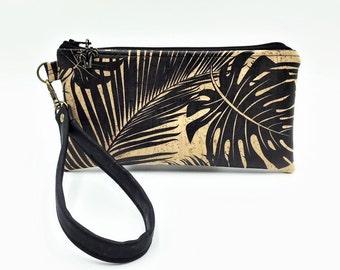 Cork Clutch, Wristlet, Clutch Purse, Evening Bag, Bridesmaid Clutch, Zippered Bag in Tropical Leaf Print