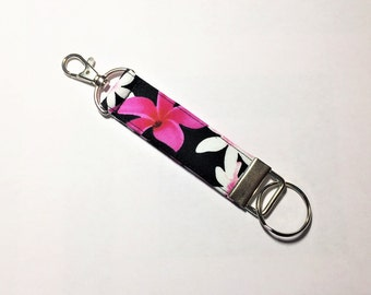 Key Fob, Key Chain, Snap Hook Key Fob, Floral Key Fob, Tropical Key Fob in Plumeria on Black