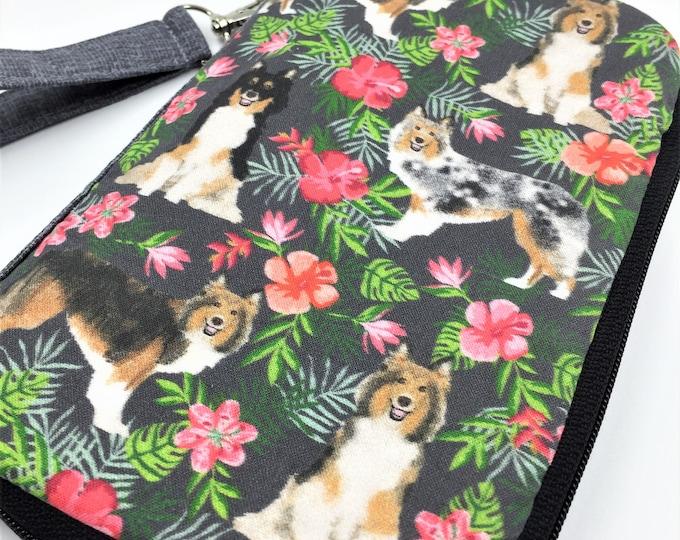 Sheltie Wallet, Sheltie Wristlet, Shetland Sheepdog Zip Around Wallet, Zipper Wallet, Cell Phone Wristlet