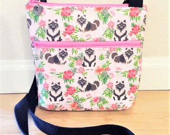 Double Zipper Cross Body Bag,  Keeshond Cross Body Bag, Travel Bag, Shoulder Bag in Keeshonds with Hibiscus in Pink