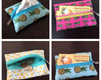 Zippered Pouch, Tissue Holder, Business Card Holder, Credit Card Holder, Coin Pouch in Pineapples Galore