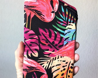 Sunglass Case, Eyeglass Case, Zippered Case in Flamingos