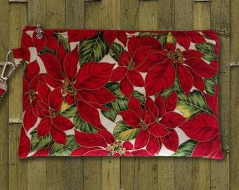 Clutch, Christmas Clutch Bag, Cosmetic Bag, Evening Bag, Purse, Wristlet, Zippered Bag in Poinsettia Print