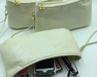 Clutch, Curved Clutch, Wristlet, Clutch Purse, Evening Bag, Bridesmaid Clutch, Zippered Bag in Tropical Leaf Print