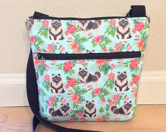 Double Zipper Cross Body Bag,  Keeshond Cross Body Bag, Travel Bag, Shoulder Bag in Keeshonds with Hibiscus Teal Blue