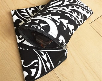 Sunglass Case, Eyeglass Case, Zippered Case in Black & White Tribal Print