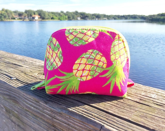 Featured listing image: Essential Oil Bag, Essential Oil Pouch, Oils Storage Bag, Oils Travel Pouch, Dumpling Bag, Oils Carrying Case in Bright Pineapples - Small