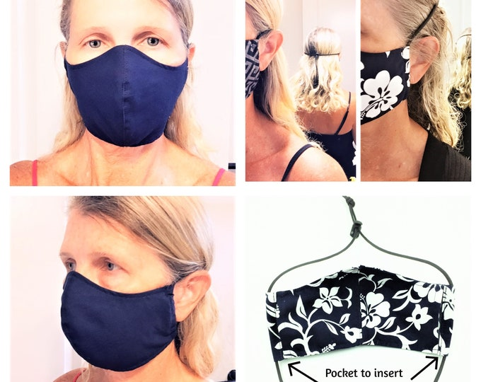 Custom Order Face Mask with Paracord and Toggle, Reusable Mask, Hawaii Mask with filter pocket & nose wire - Made to Order