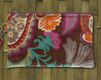 Clutch, Wristlet, Clutch Purse, Evening Bag, Bridesmaid Clutch, Zippered Bag in Fall Floral Paisley - Made in Maui
