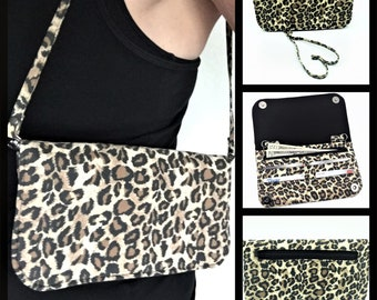 Wallet, Purse, Makena Wallet Purse, Clutch, Evening Bag, Zippered Clutch in Leopard Print