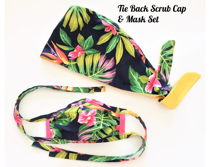 Scrub Cap & Face Mask Set, Tropical Scrub Set, Surgical Cap, Protective Mask, Chemo Cap, Medical PPE in Tropical Floral on Navy